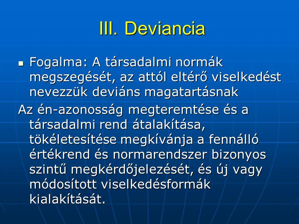 III. Deviancia III. Deviancia Fogalma: A társadalmi normák megszegését, az attól eltérő viselkedést nevezzük deviáns magatartásnak Fogalma: A társadal