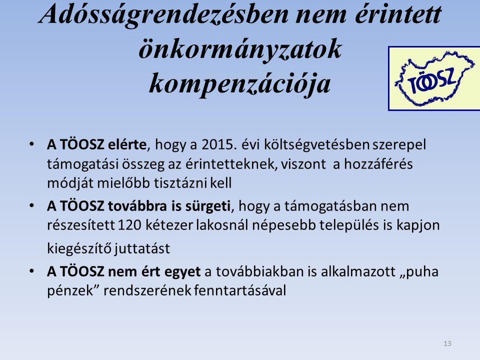 Adósságrendezésben nem érintett önkormányzatok kompenzációja A TÖOSZ elérte, hogy a 2015.
