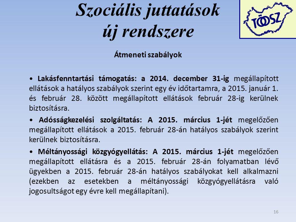 Szociális juttatások új rendszere Átmeneti szabályok Lakásfenntartási támogatás: a 2014.