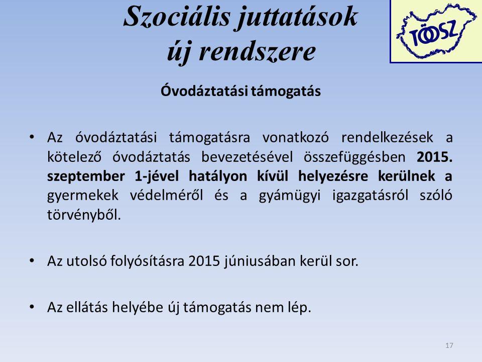 Szociális juttatások új rendszere Óvodáztatási támogatás Az óvodáztatási támogatásra vonatkozó rendelkezések a kötelező óvodáztatás bevezetésével összefüggésben 2015.