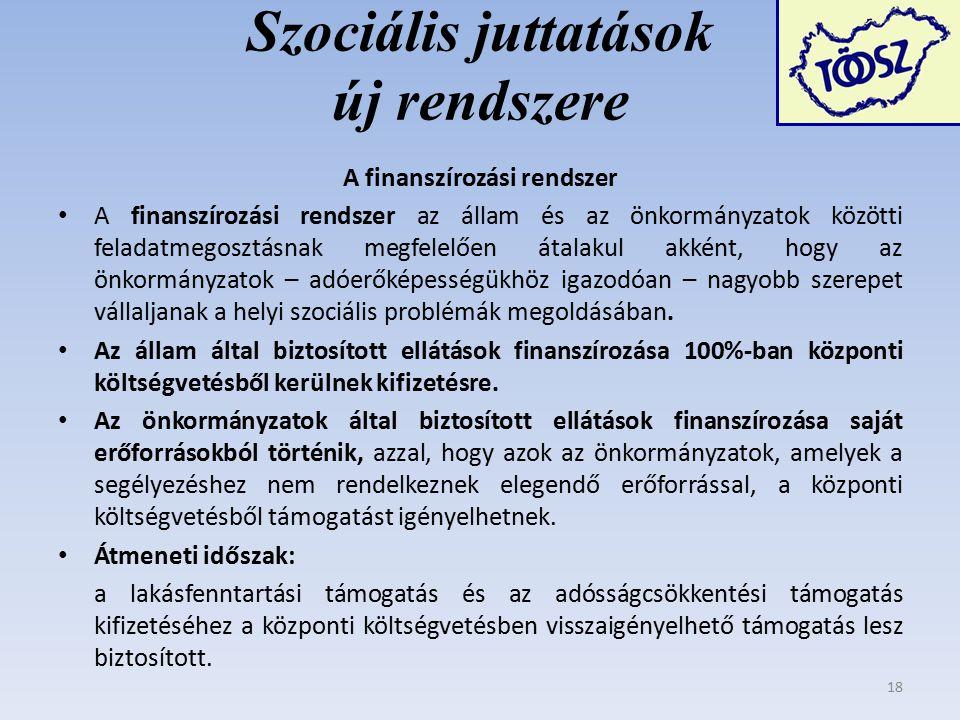 Szociális juttatások új rendszere A finanszírozási rendszer A finanszírozási rendszer az állam és az önkormányzatok közötti feladatmegosztásnak megfelelően átalakul akként, hogy az önkormányzatok – adóerőképességükhöz igazodóan – nagyobb szerepet vállaljanak a helyi szociális problémák megoldásában.