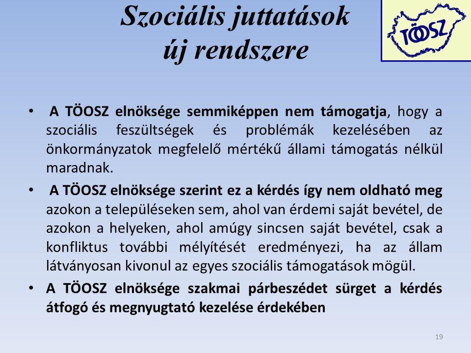 Szociális juttatások új rendszere A TÖOSZ elnöksége semmiképpen nem támogatja, hogy a szociális feszültségek és problémák kezelésében az önkormányzatok megfelelő mértékű állami támogatás nélkül maradnak.