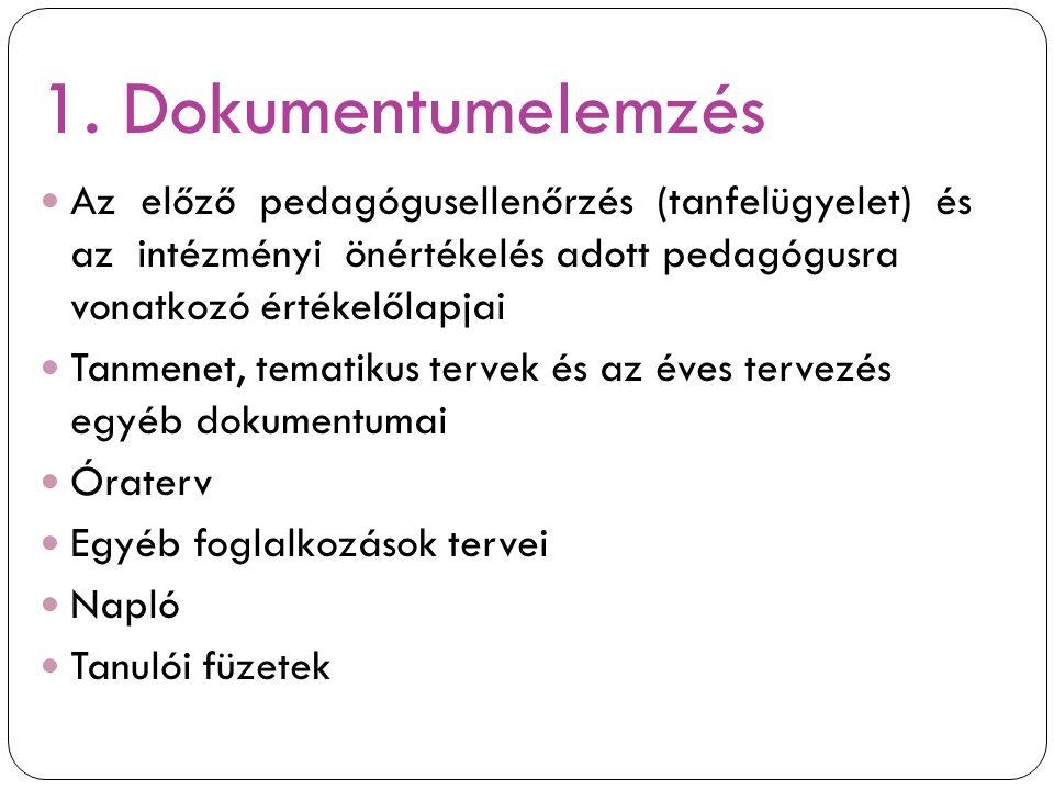 1. Dokumentumelemzés Az előző pedagógusellenőrzés (tanfelügyelet) és az intézményi önértékelés adott pedagógusra vonatkozó értékelőlapjai Tanmenet, te