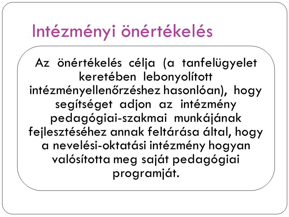 Intézményi önértékelés Az önértékelés célja (a tanfelügyelet keretében lebonyolított intézményellenőrzéshez hasonlóan), hogy segítséget adjon az intéz