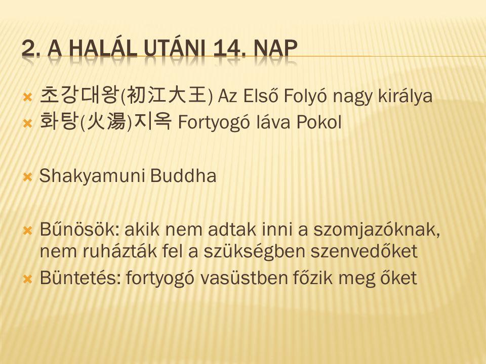  초강대왕 ( 初江大王 ) Az Első Folyó nagy királya  화탕 ( 火湯 ) 지옥 Fortyogó láva Pokol  Shakyamuni Buddha  Bűnösök: akik nem adtak inni a szomjazóknak, nem ruházták fel a szükségben szenvedőket  Büntetés: fortyogó vasüstben főzik meg őket