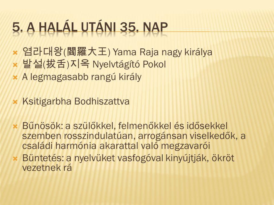 염라대왕 ( 閻羅大王 ) Yama Raja nagy királya  발설 ( 拔舌 ) 지옥 Nyelvtágító Pokol  A legmagasabb rangú király  Ksitigarbha Bodhiszattva  Bűnösök: a szülőkkel