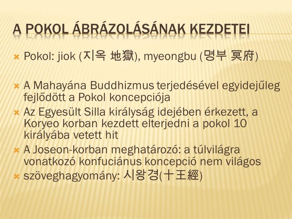  Pokol: jiok ( 지옥 地獄 ), myeongbu ( 명부 冥府 )  A Mahayána Buddhizmus terjedésével egyidejűleg fejlődött a Pokol koncepciója  Az Egyesült Silla királyság idejében érkezett, a Koryeo korban kezdett elterjedni a pokol 10 királyába vetett hit  A Joseon-korban meghatározó: a túlvilágra vonatkozó konfuciánus koncepció nem világos  szöveghagyomány: 시왕경 ( 十王經 )