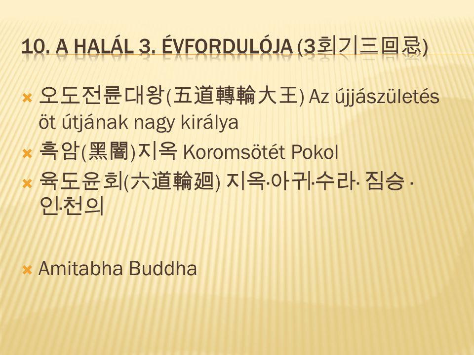  오도전륜대왕 ( 五道轉輪大王 ) Az újjászületés öt útjának nagy királya  흑암 ( 黑闇 ) 지옥 Koromsötét Pokol  육도윤회 ( 六道輪廻 ) 지옥 · 아귀 · 수라 · 짐승 · 인 · 천의  Amitabha Budd