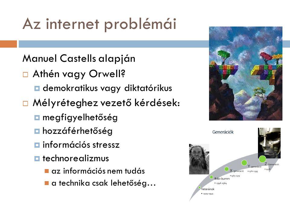 Az internet problémái Manuel Castells alapján  Athén vagy Orwell.