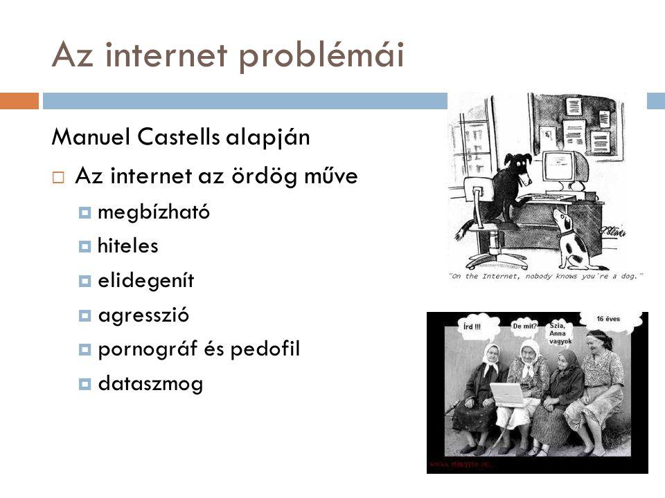 Az internet problémái Manuel Castells alapján  Az internet az ördög műve  megbízható  hiteles  elidegenít  agresszió  pornográf és pedofil  dataszmog