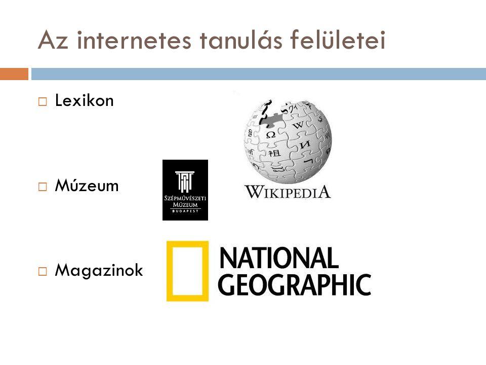 Az internetes tanulás felületei  Lexikon  Múzeum  Magazinok