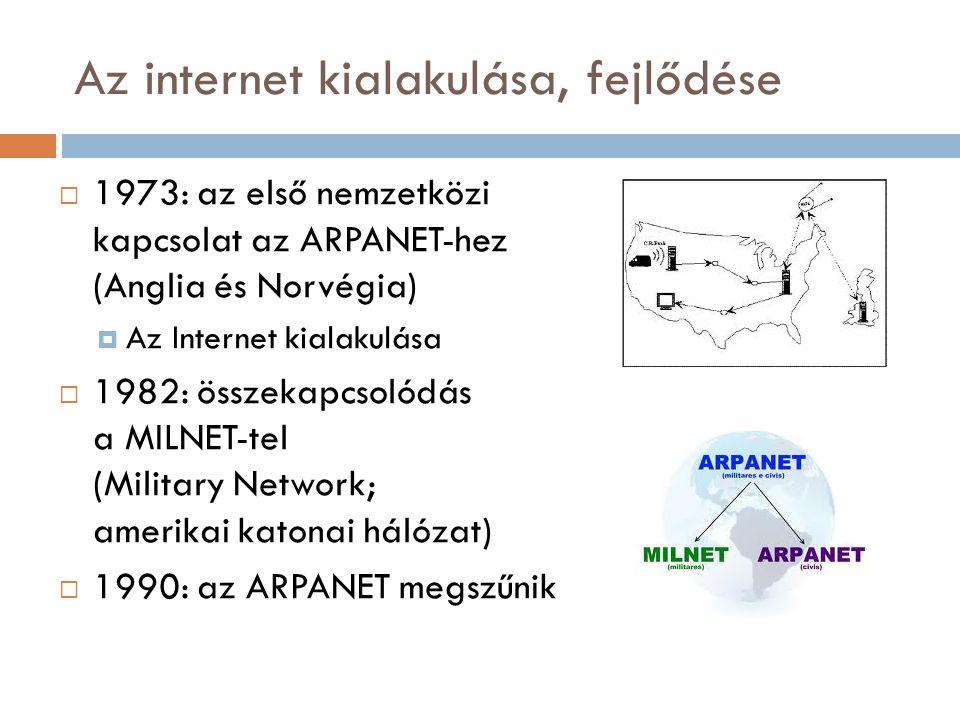 Az internet kialakulása, fejlődése  1973: az első nemzetközi kapcsolat az ARPANET-hez (Anglia és Norvégia)  Az Internet kialakulása  1982: összekapcsolódás a MILNET-tel (Military Network; amerikai katonai hálózat)  1990: az ARPANET megszűnik