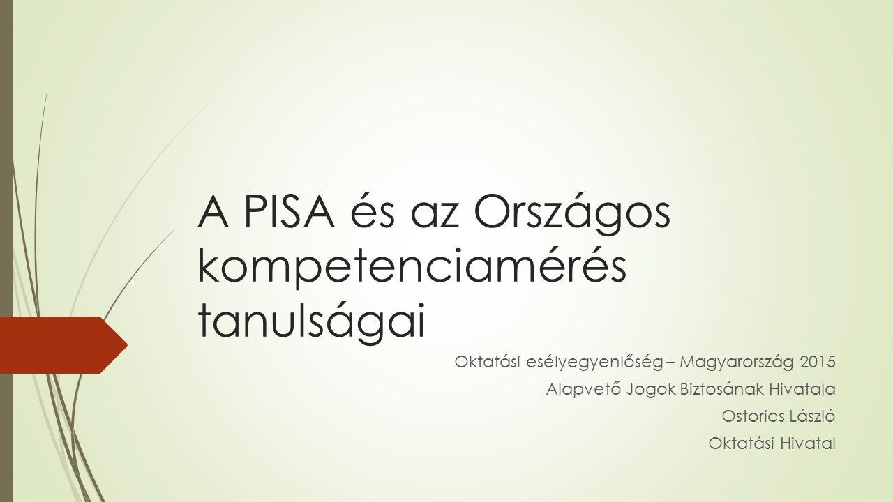 A PISA és az Országos kompetenciamérés tanulságai Oktatási esélyegyenlőség – Magyarország 2015 Alapvető Jogok Biztosának Hivatala Ostorics László Okta