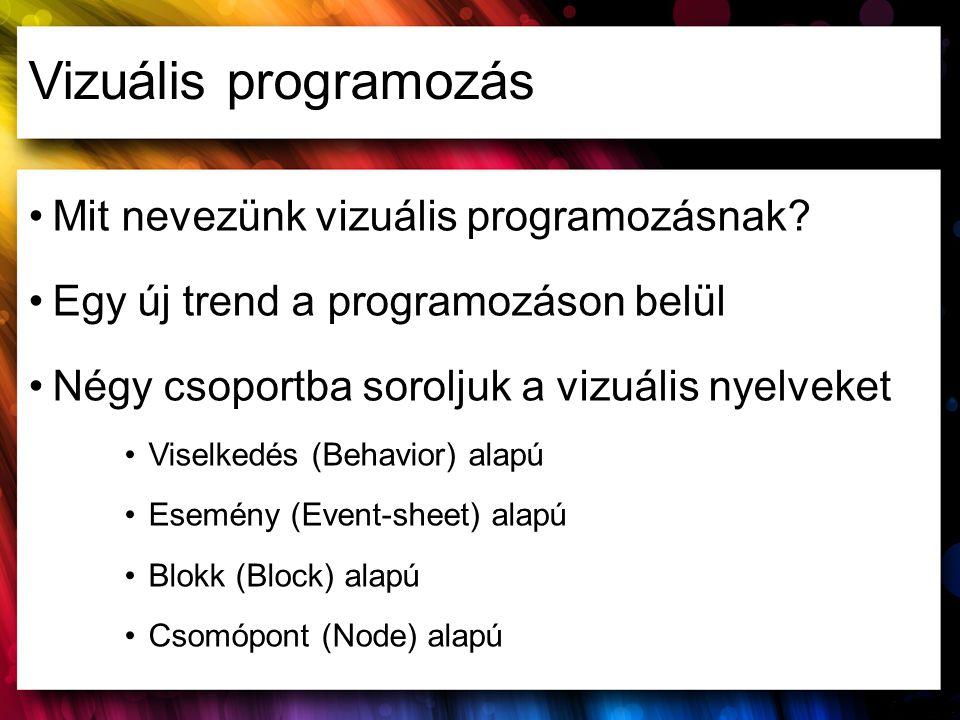 Vizuális programozás Mit nevezünk vizuális programozásnak? Egy új trend a programozáson belül Négy csoportba soroljuk a vizuális nyelveket Viselkedés