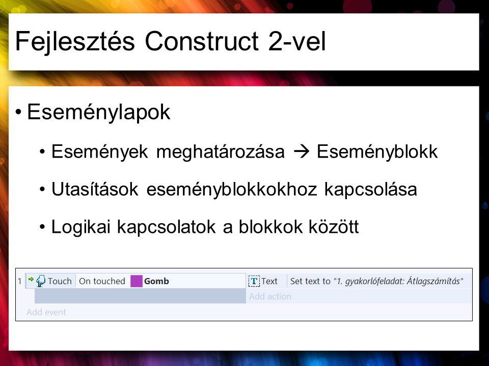 Fejlesztés Construct 2-vel Eseménylapok Események meghatározása  Eseményblokk Utasítások eseményblokkokhoz kapcsolása Logikai kapcsolatok a blokkok k