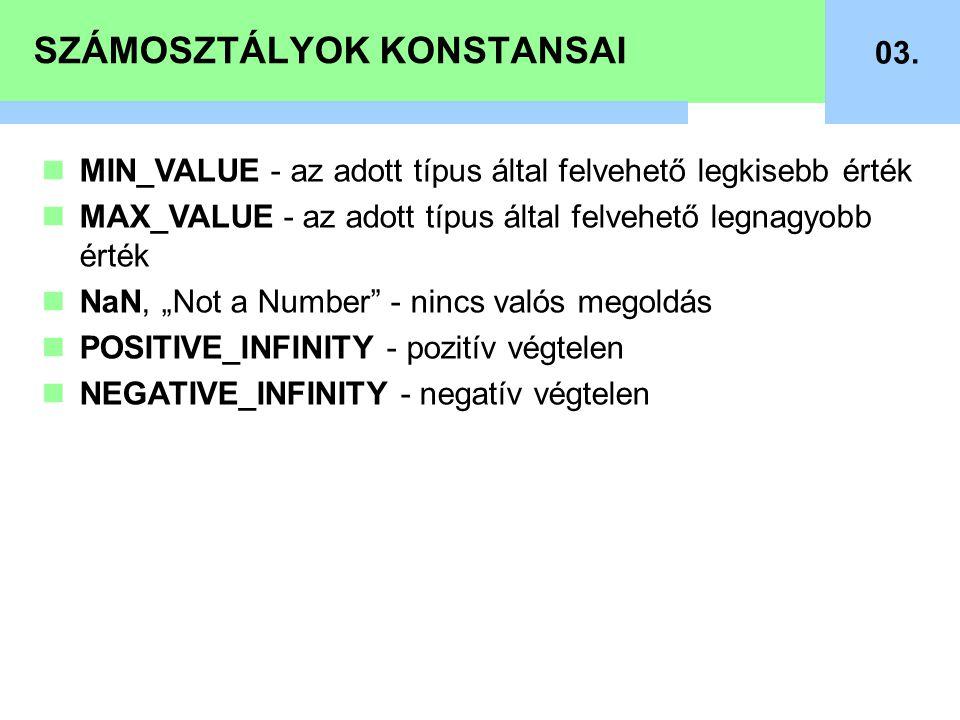SZÁMOSZTÁLYOK KONSTANSAI 03. MIN_VALUE - az adott típus által felvehető legkisebb érték MAX_VALUE - az adott típus által felvehető legnagyobb érték Na