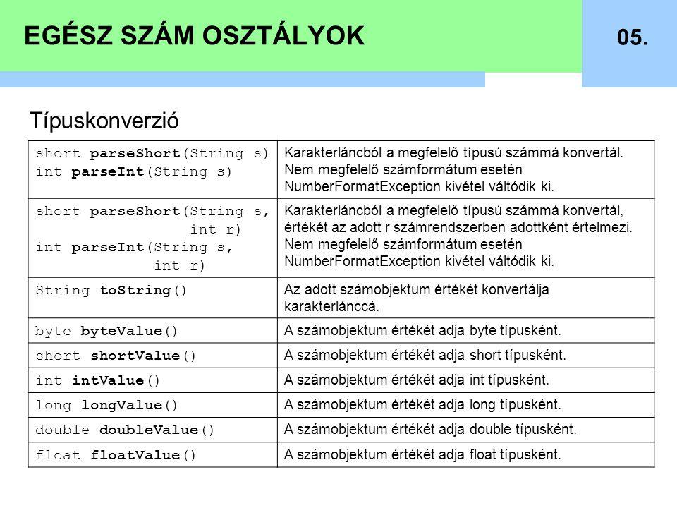 EGÉSZ SZÁM OSZTÁLYOK 05. Típuskonverzió short parseShort(String s) int parseInt(String s) Karakterláncból a megfelelő típusú számmá konvertál. Nem meg