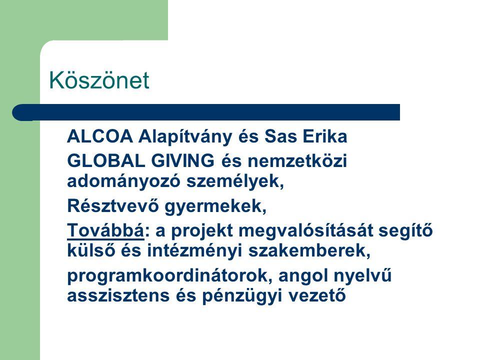 Köszönet ALCOA Alapítvány és Sas Erika GLOBAL GIVING és nemzetközi adományozó személyek, Résztvevő gyermekek, Továbbá: a projekt megvalósítását segítő külső és intézményi szakemberek, programkoordinátorok, angol nyelvű asszisztens és pénzügyi vezető