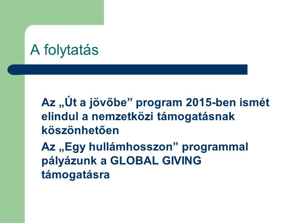 """A folytatás Az """"Út a jövőbe program 2015-ben ismét elindul a nemzetközi támogatásnak köszönhetően Az """"Egy hullámhosszon programmal pályázunk a GLOBAL GIVING támogatásra"""