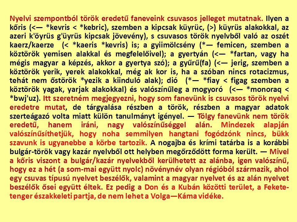 Nyelvi szempontból török eredetű faneveink csuvasos jelleget mutatnak. Ilyen a kőris ( ) küyrüs alakokkal, az azeri k'öyrüs g'üyrüs kipcsak jövevény),