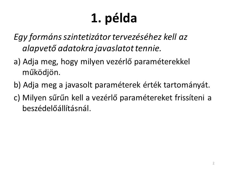 1. példa Egy formáns szintetizátor tervezéséhez kell az alapvető adatokra javaslatot tennie.