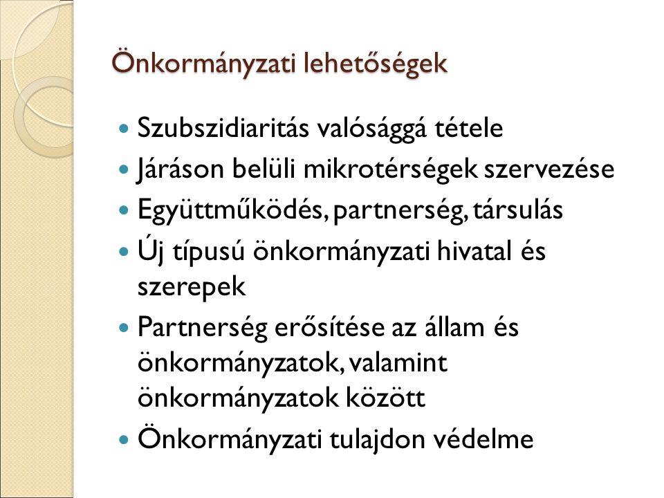 Önkormányzati lehetőségek Szubszidiaritás valósággá tétele Járáson belüli mikrotérségek szervezése Együttműködés, partnerség, társulás Új típusú önkormányzati hivatal és szerepek Partnerség erősítése az állam és önkormányzatok, valamint önkormányzatok között Önkormányzati tulajdon védelme