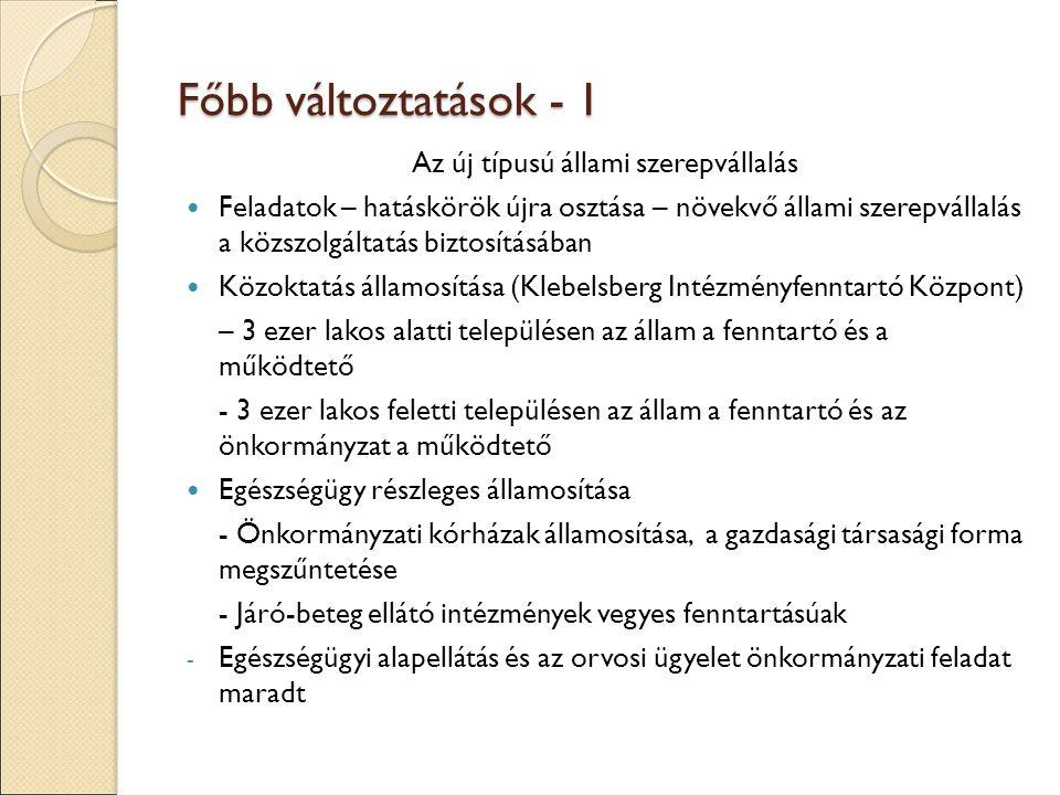 Főbb változtatások - 1 Az új típusú állami szerepvállalás Feladatok – hatáskörök újra osztása – növekvő állami szerepvállalás a közszolgáltatás biztosításában Közoktatás államosítása (Klebelsberg Intézményfenntartó Központ) – 3 ezer lakos alatti településen az állam a fenntartó és a működtető - 3 ezer lakos feletti településen az állam a fenntartó és az önkormányzat a működtető Egészségügy részleges államosítása - Önkormányzati kórházak államosítása, a gazdasági társasági forma megszűntetése - Járó-beteg ellátó intézmények vegyes fenntartásúak - Egészségügyi alapellátás és az orvosi ügyelet önkormányzati feladat maradt