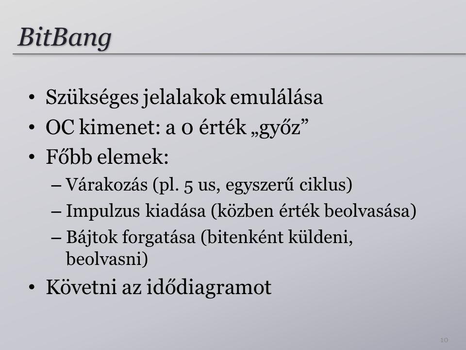 """BitBang Szükséges jelalakok emulálása OC kimenet: a 0 érték """"győz"""" Főbb elemek: – Várakozás (pl. 5 us, egyszerű ciklus) – Impulzus kiadása (közben ért"""