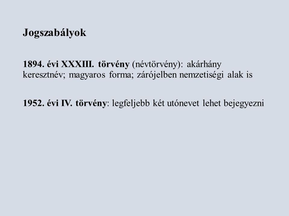 1982.évi 17. tvr. 27. § (2): A név anyakönyvezésénél a magyar helyesírás szabályai az irányadók.