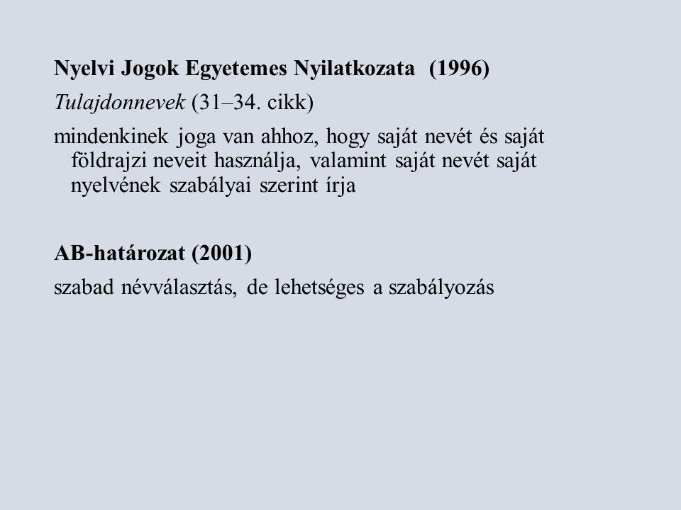 Névjegyzékek Ladó János: Magyar utónévkönyv (1971) 1996-ban már több mint 500 szakértői vélemény Bíró Ágnes: Új magyar utónévkönyv (1997) 2710 bejegyezhető név (+883 név: 631 női, 252 férfi) Ladó János–Bíró Ágnes: Magyar utónévkönyv (1998)