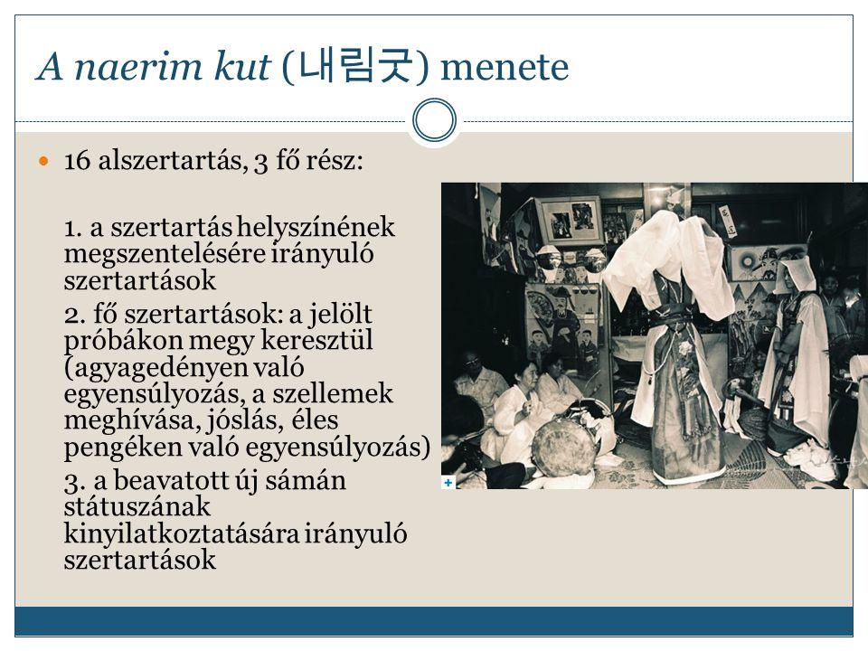 A naerim kut ( 내림굿 ) menete 16 alszertartás, 3 fő rész: 1. a szertartás helyszínének megszentelésére irányuló szertartások 2. fő szertartások: a jelöl