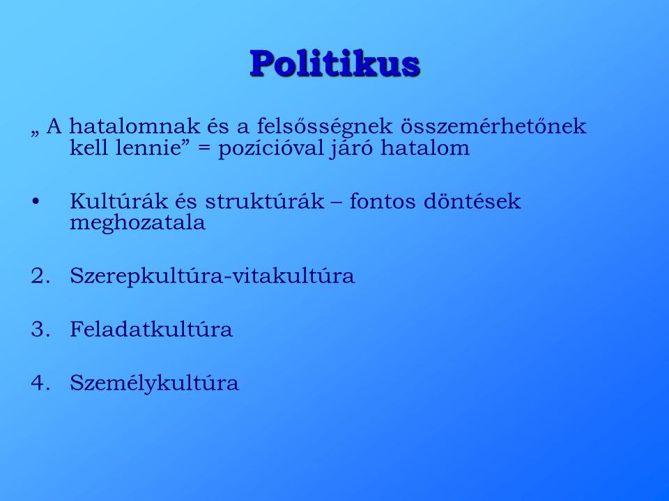"""Politikus """" A hatalomnak és a felsősségnek összemérhetőnek kell lennie"""" = pozícióval járó hatalom Kultúrák és struktúrák – fontos döntések meghozatala"""