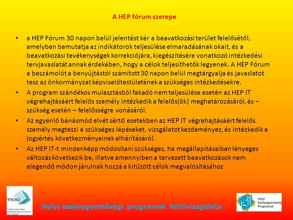 Helyi esélyegyenlőségi programok felülvizsgálata A HEP fórum szerepe a HEP Fórum 30 napon belül jelentést kér a beavatkozási terület felelősétől, amel