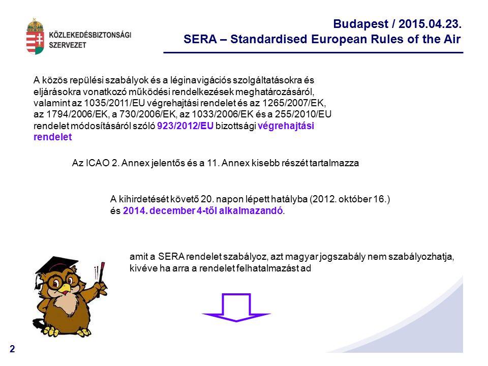2 Budapest / 2015.04.23. SERA – Standardised European Rules of the Air A közös repülési szabályok és a léginavigációs szolgáltatásokra és eljárásokra