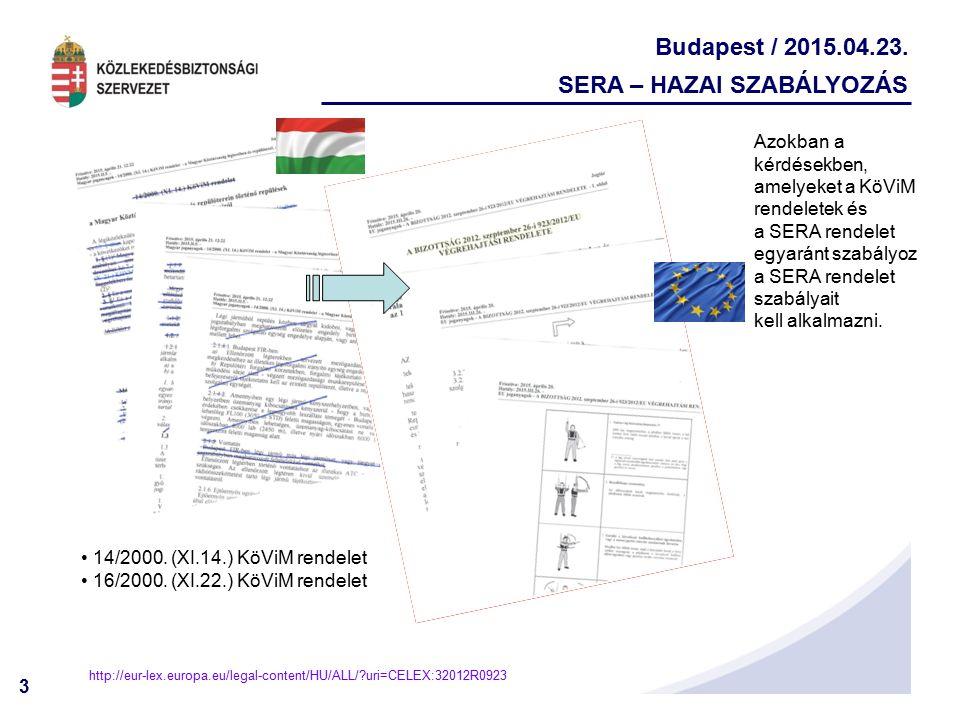 3 Budapest / 2015.04.23. SERA – HAZAI SZABÁLYOZÁS 14/2000. (XI.14.) KöViM rendelet 16/2000. (XI.22.) KöViM rendelet http://eur-lex.europa.eu/legal-con