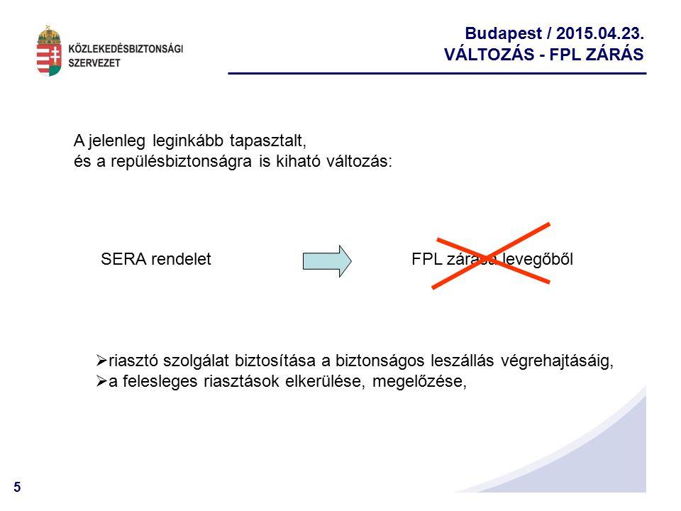 5 Budapest / 2015.04.23. VÁLTOZÁS - FPL ZÁRÁS FPL zárása levegőből A jelenleg leginkább tapasztalt, és a repülésbiztonságra is kiható változás:  rias