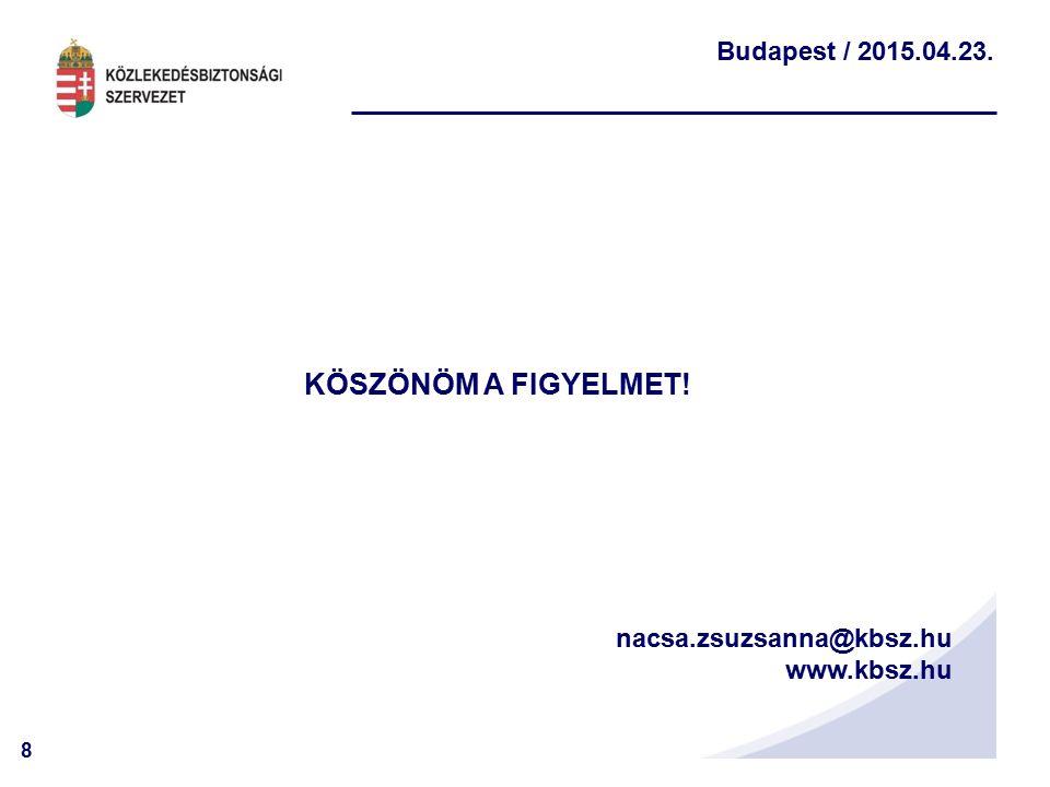 8 Budapest / 2015.04.23. nacsa.zsuzsanna@kbsz.hu www.kbsz.hu KÖSZÖNÖM A FIGYELMET!!