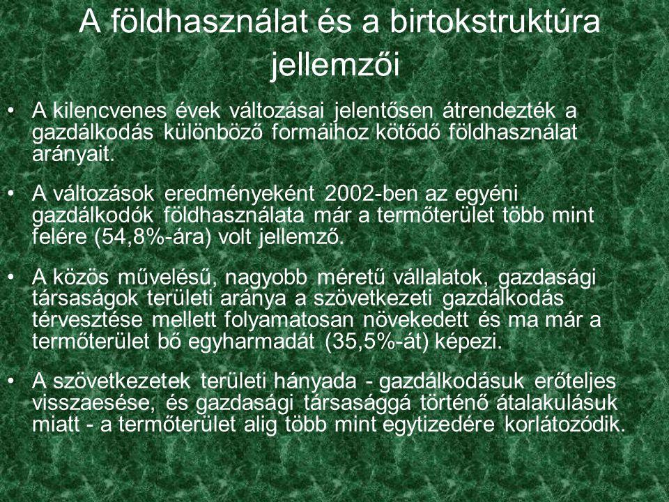 Általános jellemzők: az EU-tagországokra jellemző átlagos birtoknagyság 18,4 hektár, amely a hazai földhasználat átlagos méretének 2000-ben 2,6-szerese, amely 2003-ban a lassú koncentráció eredményeként alig több mint kétszerese; a hazai földhasználatot a közepes méretű, biztonságos megélhetést nyújtó gazdaságok igen szerény jelenléte jellemzi, ezért a földhasználat ésszerűsítését, kiegyensúlyozását jelentő térnyerésüket minden eszközzel ösztönözni kell; A földhasználat jellemzői Magyarországon