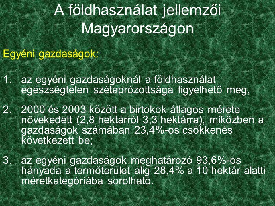 A földhasználat jellemzői Magyarországon Egyéni gazdaságok: 4.A 10-100 hektár közötti gazdaságok aránya növekvő, majdnem eléri a 6%-ot.