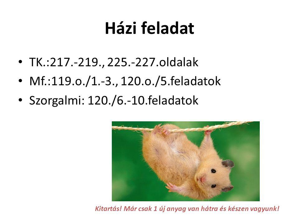 Házi feladat TK.:217.-219., 225.-227.oldalak Mf.:119.o./1.-3., 120.o./5.feladatok Szorgalmi: 120./6.-10.feladatok Kitartás! Már csak 1 új anyag van há