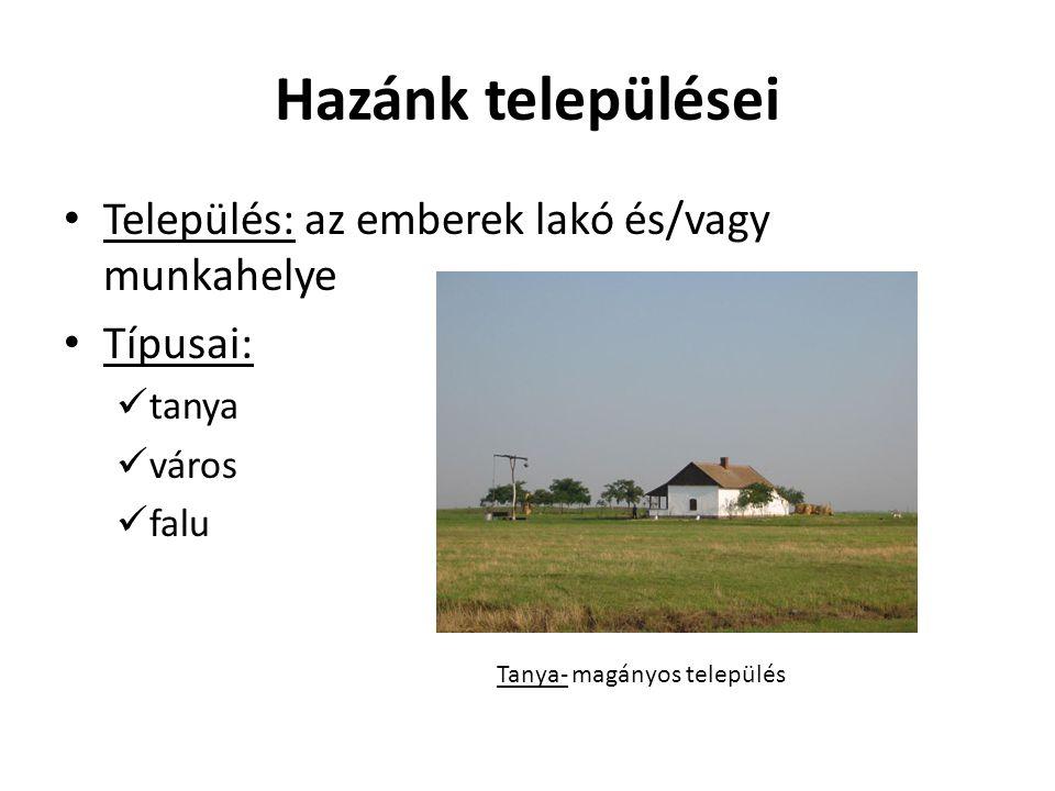 Hazánk települései Település: az emberek lakó és/vagy munkahelye Típusai: tanya város falu Tanya- magányos település