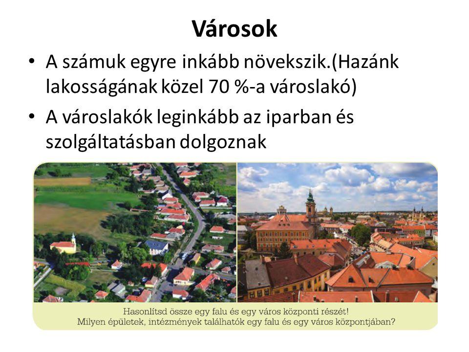 Városok A számuk egyre inkább növekszik.(Hazánk lakosságának közel 70 %-a városlakó) A városlakók leginkább az iparban és szolgáltatásban dolgoznak