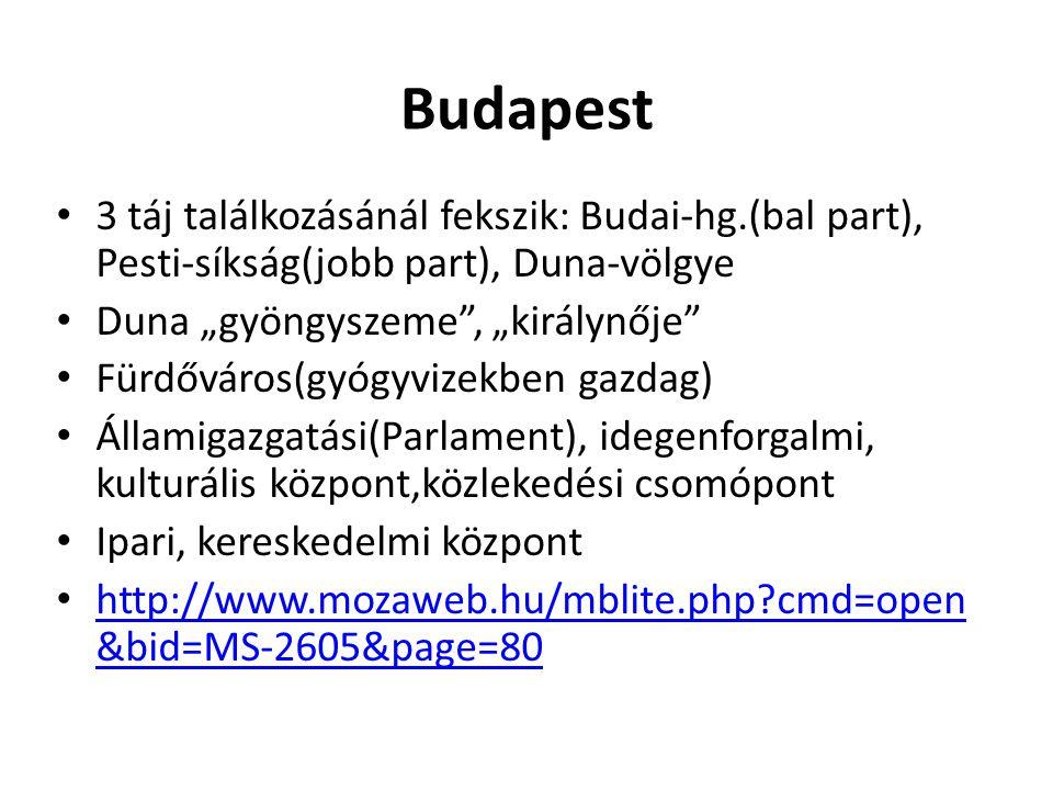"""Budapest 3 táj találkozásánál fekszik: Budai-hg.(bal part), Pesti-síkság(jobb part), Duna-völgye Duna """"gyöngyszeme"""", """"királynője"""" Fürdőváros(gyógyvize"""