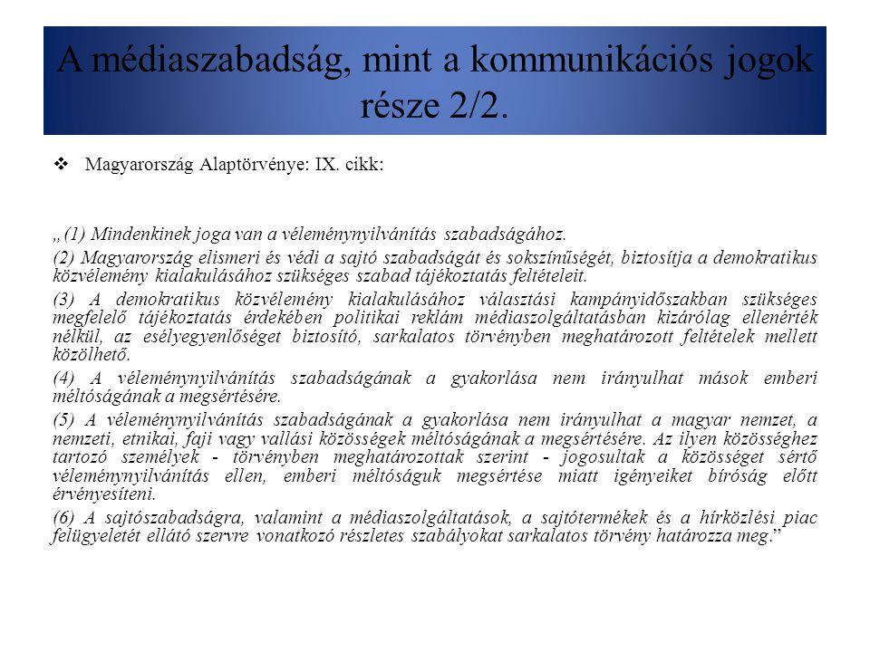 """A médiaszabadság, mint a kommunikációs jogok része 2/2.  Magyarország Alaptörvénye: IX. cikk: """"(1) Mindenkinek joga van a véleménynyilvánítás szabads"""