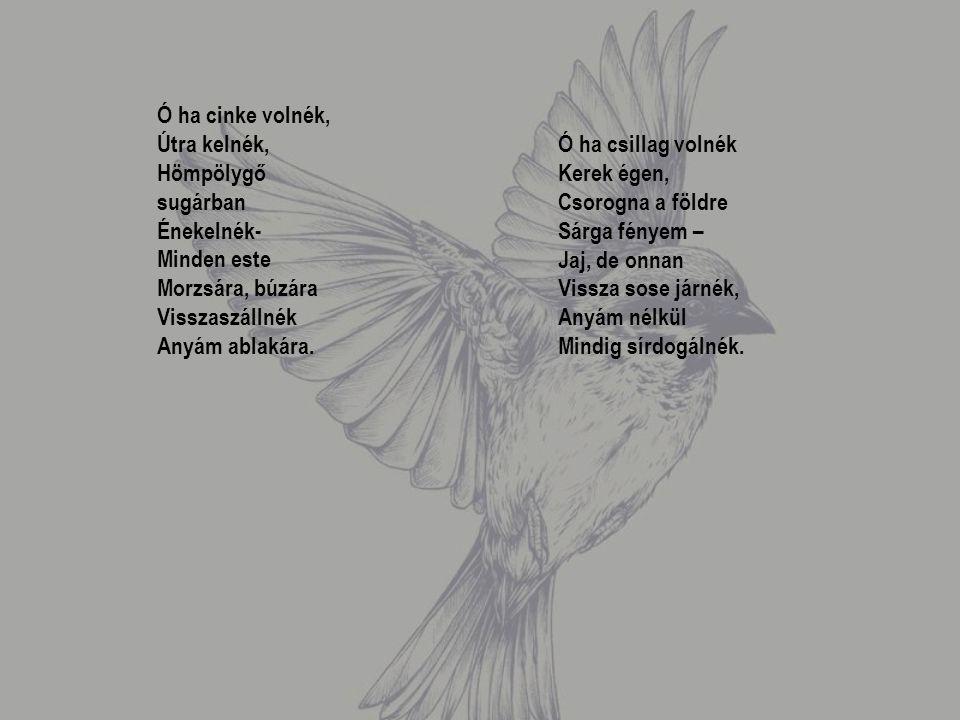 Ó ha cinke volnék, Útra kelnék, Hömpölygő sugárban Énekelnék- Minden este Morzsára, búzára Visszaszállnék Anyám ablakára.