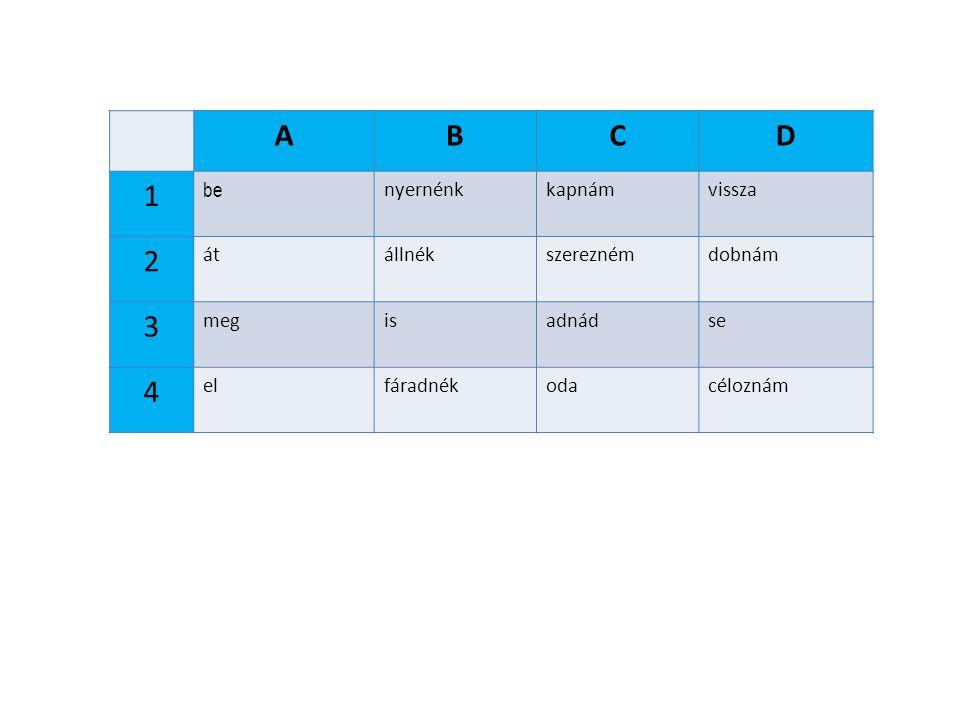 ABCD 1 be nyernénkkapnámvissza 2 átállnékszereznémdobnám 3 megisadnádse 4 elfáradnékodacéloznám