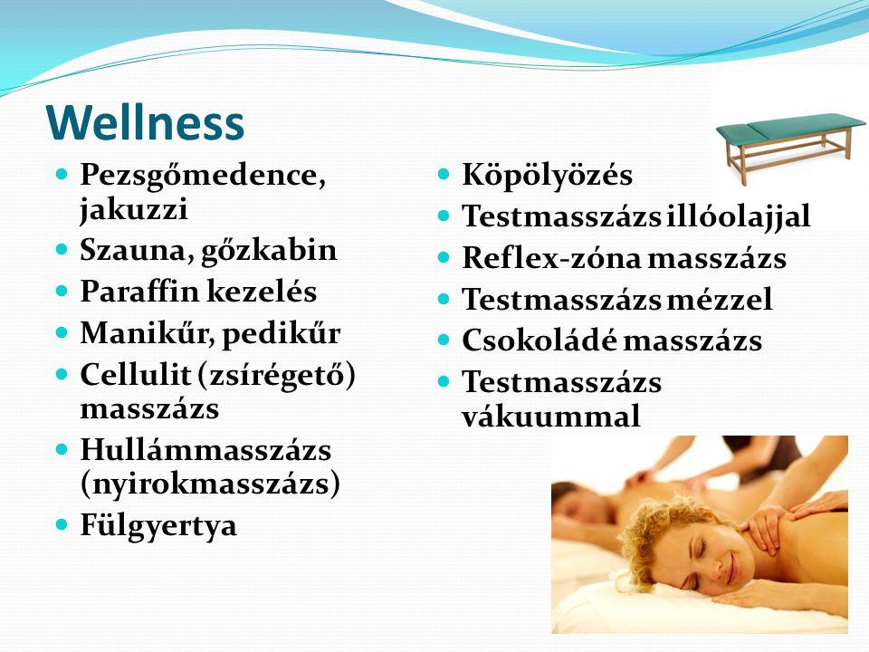 Wellness Pezsgőmedence, jakuzzi Szauna, gőzkabin Paraffin kezelés Manikűr, pedikűr Cellulit (zsírégető) masszázs Hullámmasszázs (nyirokmasszázs) Fülgyertya Köpölyözés Testmasszázs illóolajjal Reflex-zóna masszázs Testmasszázs mézzel Csokoládé masszázs Testmasszázs vákuummal