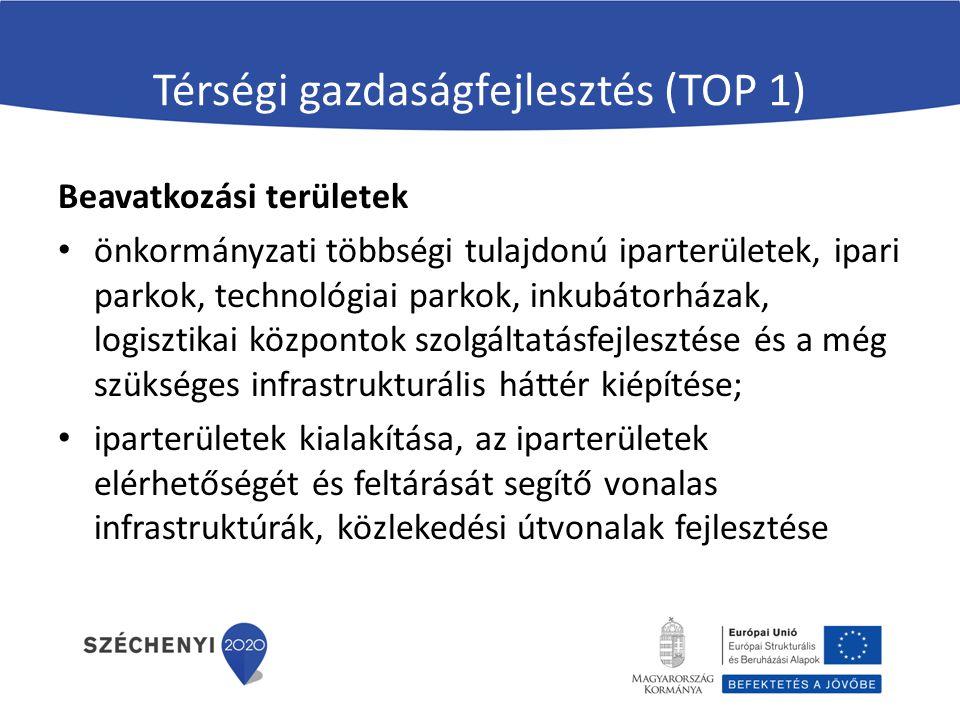 Térségi gazdaságfejlesztés (TOP 1) Beavatkozási területek önkormányzati többségi tulajdonú iparterületek, ipari parkok, technológiai parkok, inkubátor