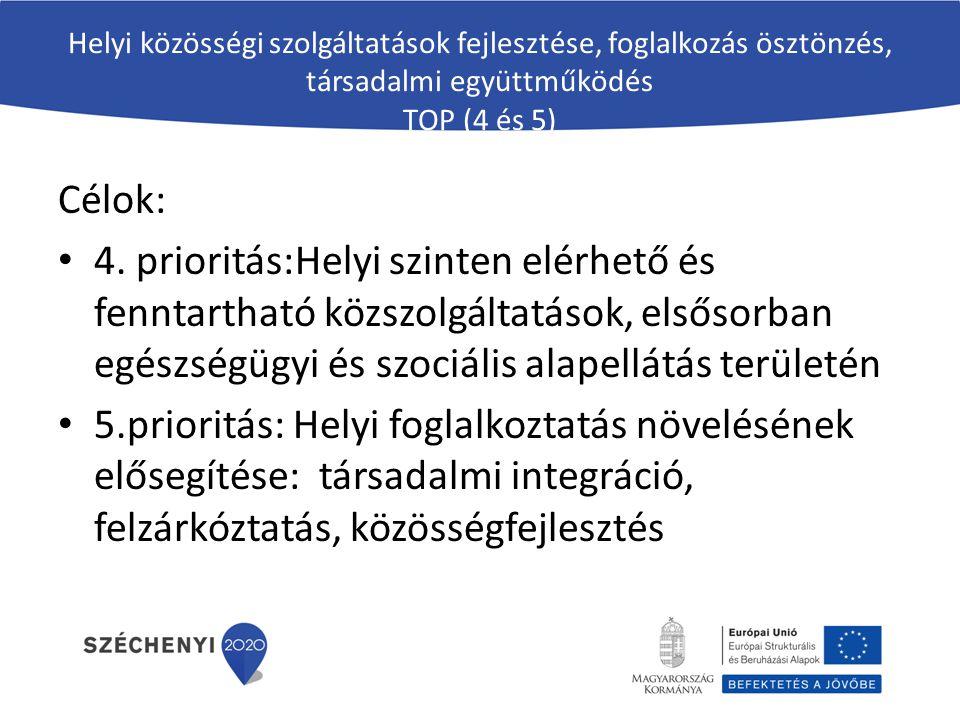 Helyi közösségi szolgáltatások fejlesztése, foglalkozás ösztönzés, társadalmi együttműködés TOP (4 és 5) Célok: 4. prioritás:Helyi szinten elérhető és