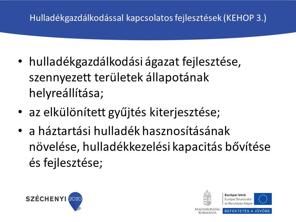 Hulladékgazdálkodással kapcsolatos fejlesztések (KEHOP 3.) hulladékgazdálkodási ágazat fejlesztése, szennyezett területek állapotának helyreállítása;